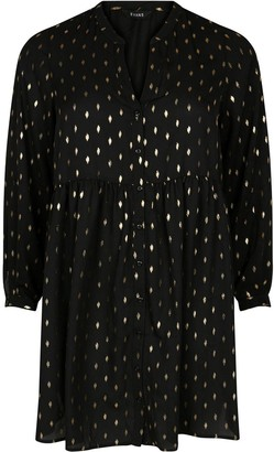 Evans Foil Button Through Tunic - Black