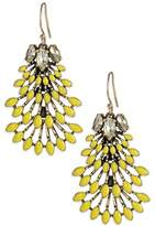 Line & Dot Dot & Line yellow enamel beaded fringe floral dangle statement earrings