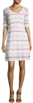 M Missoni Short-Sleeve Zigzag Knit A-Line Dress, White Pattern