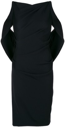 Talbot Runhof sash detail fitted dress