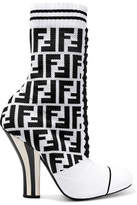 Fendi Logo-jacquard Stretch-knit And Mesh Sock Boots - White