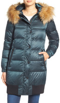 7 For All Mankind Removable Faux Fur Trim Hood Quilted Coat