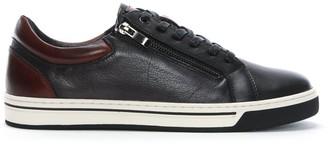 Daniel Shoreham Navy Leather Zip Lace Up Trainers