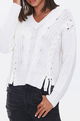 Forever 21 Lace-Up Cable Knit Sweater