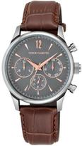 Vince Camuto Men's Brown Dial Brown Croco-Leather Strap Subdial Watch