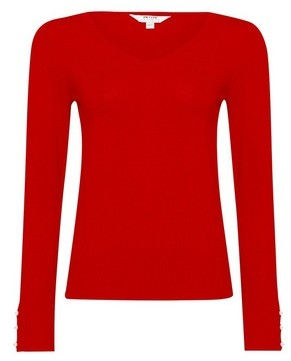 Dorothy Perkins Womens Dp Petite Red Pearl Sleeve Jumper, Red