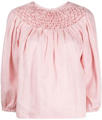 Innika Choo smock neck linen blouse