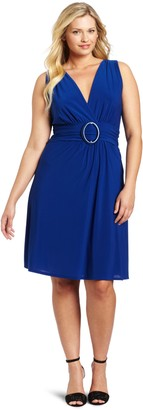 Star Vixen Women's Plus-Size Sleeveless O-Ring A-Line Dress