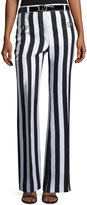 Nina Ricci Striped Sateen Wide-Leg Pants, White/Blue