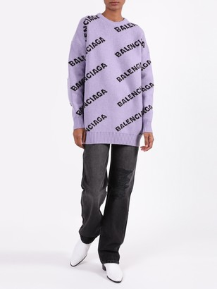 Balenciaga Over-sized Logo Print Sweater Purple