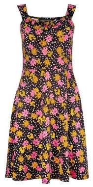 Dorothy Perkins Womens Floral Print Strappy Skater Cotton Blend Dress