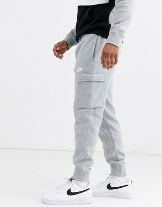 Nike Club cuffed cargo joggers in grey