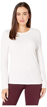 Lilla P Long Sleeve Crew in Loose Knit Slub (Black) Women's Clothing