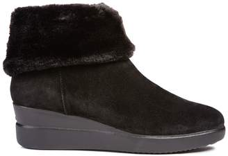 Geox D Stardust Suede Ankle Boots with Wedge Heel and Faux Fur Lining