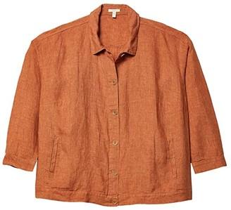 Eileen Fisher Plus Size Classic Collar Jacket (Cinnamon) Women's Clothing