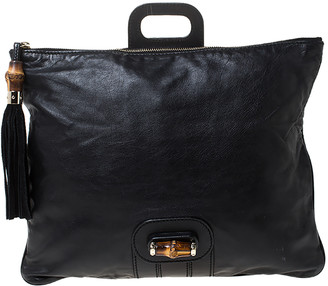 Gucci Black Leather Large Bamboo Detail Tassel Lucy Fold Over Clutch