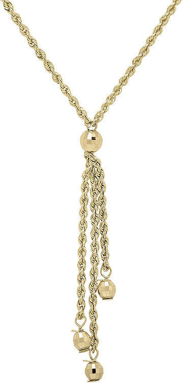 JCPenney FINE JEWELRY Infinite Gold 14K Yellow Gold Bead Station Hollow Rope Chain Lariat Necklace