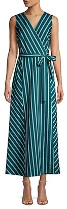 Lafayette 148 New York Siri Mediterranean Stripe Wrap Dress