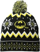 Batman Men's Logo Fair Isle Cuff Pom Beanie