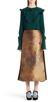 Fendi Ruffle Trim Silk Crêpe de Chine Blouse