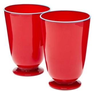 La DoubleJ Set Of Two Murano Glasses - Red