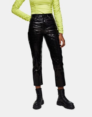 Topshop Editor straight leg jeans in black croc
