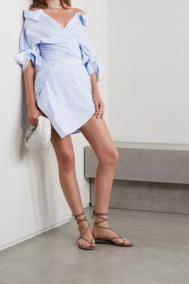 Alexander Wang - Cold-shoulder Mesh-trimmed Striped Cotton-blend Poplin Mini Shirt Dress - Blue