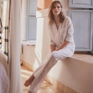 The White Company Cotton Jacquard Pyjama Set , White Blue, Extra Small