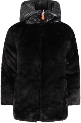 Save The Duck Black Girl Faux Fur With Iconic Logo