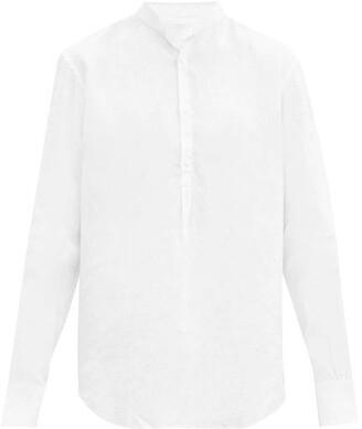 Bourrienne Paris X - Epicurien Stand-collar Linen-poplin Shirt - White