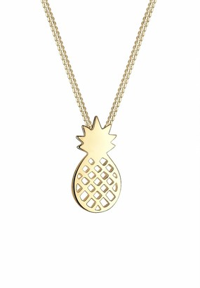 Elli Women 925 Sterling Silver Gold-Plated Pineapple Necklace of Length 45cm 0104132216_45