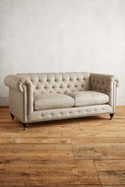 Anthropologie Linen Lyre Chesterfield Petite Sofa, Hickory