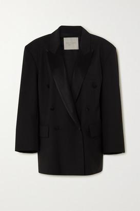 ENVELOPE1976 Lyon Oversized Double-breasted Satin-trimmed Wool Blazer - Black