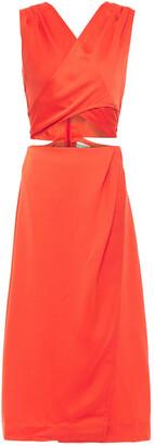 Nicholas Lace-up Wrap-effect Satin-crepe Midi Dress