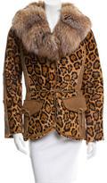 Adrienne Landau Fox Fur-Trimmed Ponyhair Jacket