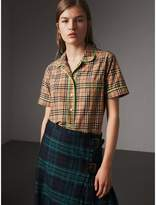 Burberry Contrast Piping Check Cotton Pyjama-style Shirt