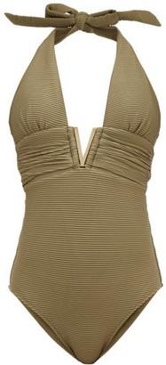 Heidi Klein Venice V-bar Ribbed Swimsuit - Khaki