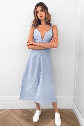 Nasty Gal Womens Cami Do It Cotton Midi Dress - Baby Blue