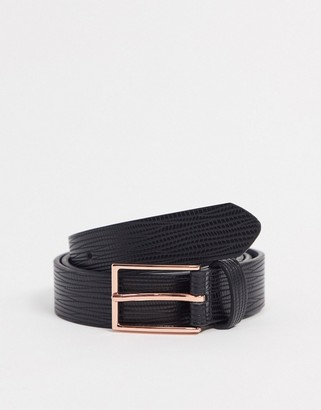 ASOS DESIGN slim belt in black croc faux leather with gold buckle