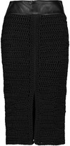 Tom Ford Leather-trimmed crocheted silk skirt