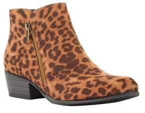 Portland Boot Company Leopard Double Zip Block Heel PU Booties (Women's)