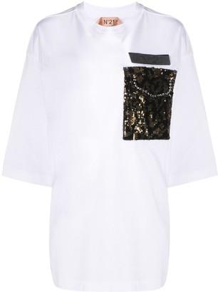 No.21 sequinned pocket oversized T-shirt