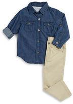 Calvin Klein Boys 2-7 Denim Sportshirt and Chinos Set