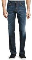 DSQUARED2 Dean Paint-Splatter Denim Jeans with Chain, Blue