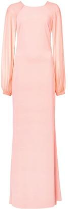 Badgley Mischka Long-Sleeve Maxi Gown
