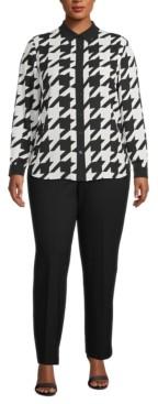 Anne Klein Plus Size Houndstooth Button-Down Blouse