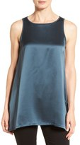 Eileen Fisher Bateau Neck Satin Silk Top