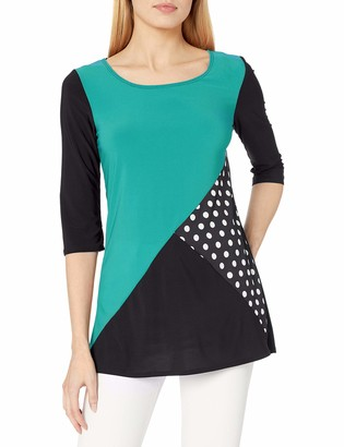 Star Vixen Women's Plus Size Colorblock Tunic Top