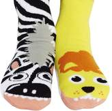 Pals Socks Kids Lion and Zebra Mismatched Friends Gripper Socks