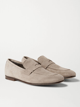 Dunhill Chiltern Suede Penny Loafers - Gray